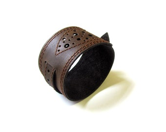 Leather bracelet, Dark brown color, Leather cuff
