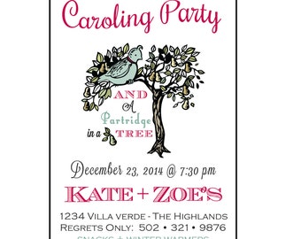 Christmas Caroling Party Invitation - Holiday Party Invitation -  Customized - DIY Printable