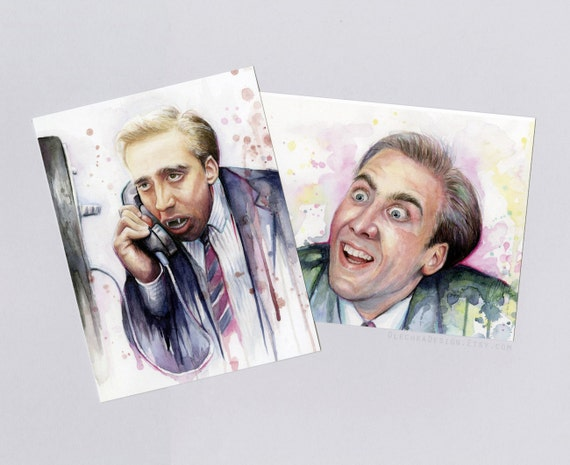 Nicolas Cage - Postcards - Set of 2 Cards - You Don't Say Meme and Vampire - watercolor art, geek, funny