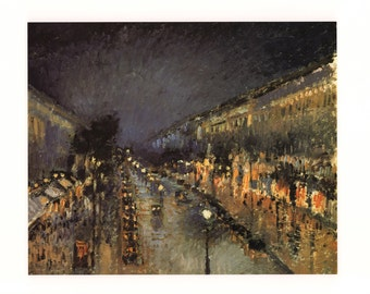 The Boulevard Monmartre at Night by Camille Pissarro, 1897 Poster Print