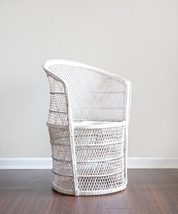 Vintage Wicker Patio Chair White Outdoor Rattan Lawn Furniture