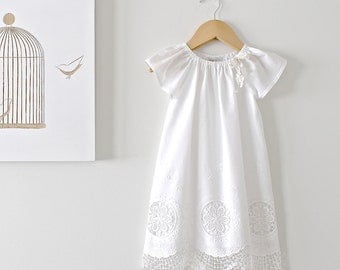Toddler Girl Baptism Dress-Antique White and lace Vintage Christening Dress-1st Birthday-Flower Girl-Children Clothing by Chasing Mini