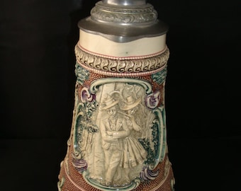 Rare Antique turn-of-the-century German Beer Stein Pitcher (D.R.G.M. 154927 - Mold# 575) by Karl Diesinger
