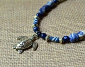 Sea Turtle Blue Silver Long Bohemian Necklace Beach Pendant Navy Summer Boho Ocean African Beaded Fun Fashion Jewelry Agate Free Shipping