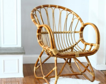 Vintage Rattan Armchair Albini Italian Mid Century Style Curved Seat Scoop Woven Cane