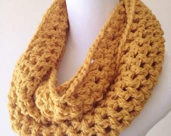 Mustard Scarf - Chunky Scarf - Mustard Infinity Scarf - Mustard Knit Scarf - Yellow Knit Scarf  Yellow Scarf- Ochre Scarf Christmas Gift