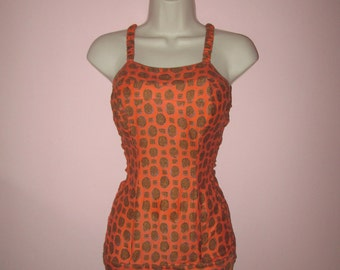 Atomic Vintage 1950s 50s Orange Swimsuit Bathing Suit with Abstract Prints -Rockabilly-Pinup-Bombshell-Pool Party-