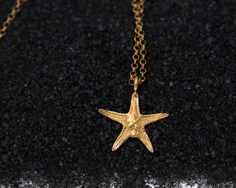 Hand made sterling silver gold plated starfish pendant with silver chain