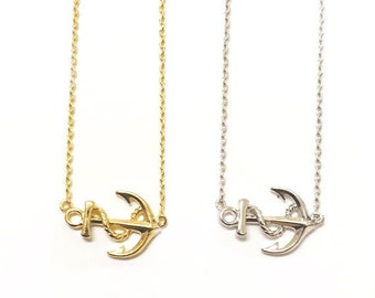 """Tiny Gold or Silver """"Anchor"""" Necklace - Dainty, Simple, Birthday Gift, Wedding Bridesmaid Gift"""