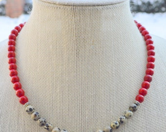 Black, White, and Red Necklace, Dalmatian Necklace, Color Block Necklace