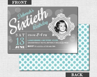 MILESTONE BIRTHDAY INVITATIONS - Vintage Photo Party Design - Any Age, Any Color w/ Picture (printable) First, 1st, 40th, 50th, 60th