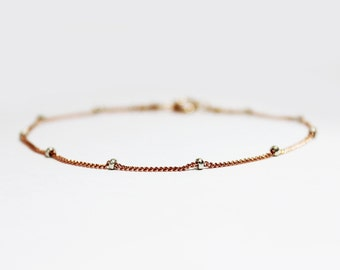 Rose Gold Plated Sterling Silver Stacking Bracelet - Bridesmaids Gift - Simple Rose Gold Bracelet - Satellite Bead Chain Bracelet