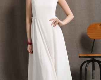 White linen dress maxi dress causal dress (C409)