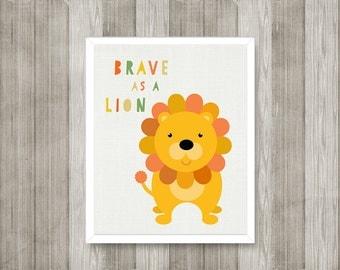 BABY BOY NURSERY Prints, Lion Nursery Print, Orange  Yellow Nursery Prints, Nursery Wall Decor, Toddler Boy Decor, Safari, Jungle, Brave