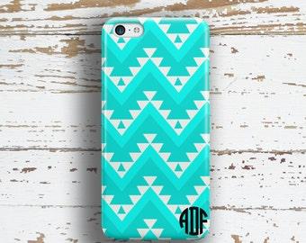 Monogram Iphone 6 + case, Chevron Iphone 5c case, Aztec iPhone 5s case, Tribal iPhone 6s case, Women's accessories Turquoise white (1312)