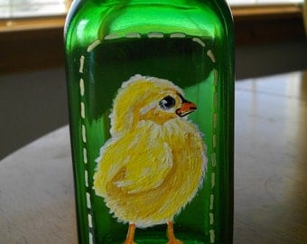 CUTE BABY CHICK Hand Painted Vintage Green Glass Bottle