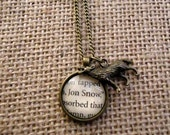 Jon Snow Book Page Necklace - Game of Thrones