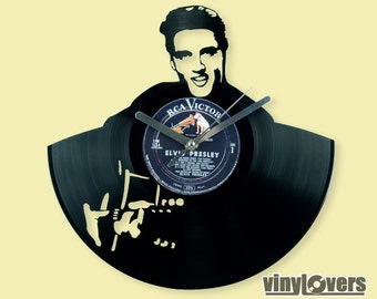 Elvis Presley the King gift wall clock from vinyl record rock unique handmade Memphis Rock'n'Roll