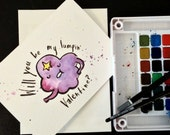 Lumpy Space Princess inspired Valentine's Day Card Blank. Watercolor painting print. Adventure Time. Nerd, geek guy girl dork