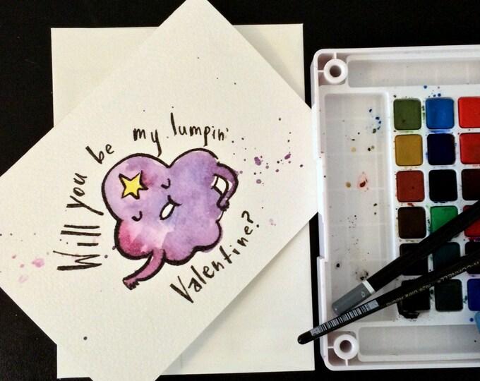 Lumpy Space Princess inspired Valentine's Day Card Blank. Watercolor painting print. Adventure Time. Nerd, geek guy girl dork