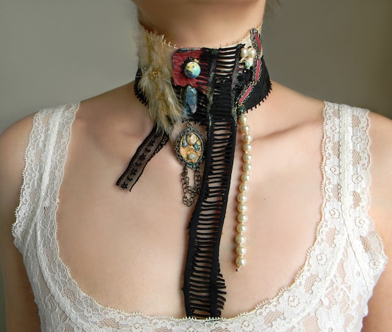 Textile Art Neck Piece with Steampunk and Victorian Gothic Twist, Choker with Feather Fluff, Crystal Quartz, Porcelain, Leather and Trims