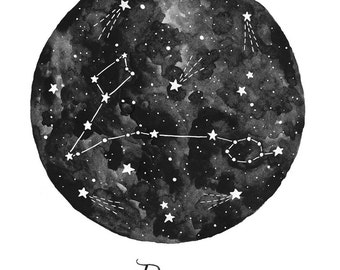 Pisces Constellation Illustration - Vertical