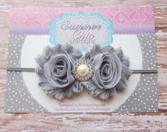 Gray Baby Headband, Baby Headband, Infant Headband, Newborn Headband, Gray Shabby Chic Headband, Gray Headband