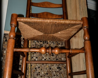 Turned Ladder Back Woven Rush Seat Chair