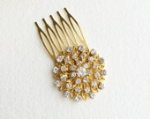 Gold hair Comb, 18k gold, small, round, Art Deco hair comb, Art Deco hair accessories, Gold Bridal Hair Comb, circle bridal comb rhinestone