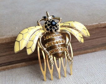 Bumble bee comb, Bumble bee hair pin, summer wedding, bee comb, Bumble bee jewelry, gold wedding insect bee honey hair accessories