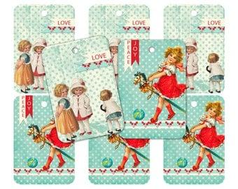 Vintage Style Aqua Christmas Children Gift Tags- INSTANT Digital Download