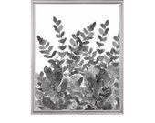 Black and White Art, Fern Garden, Watercolor Painting, Charcoal Art, Gray Art Print, Modern Floral Art, Black and White Contemporary Decor