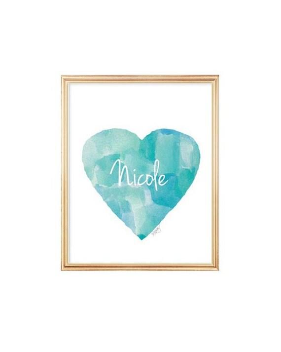 Aqua Nursery Decor, 8x10 Heart Print with Name