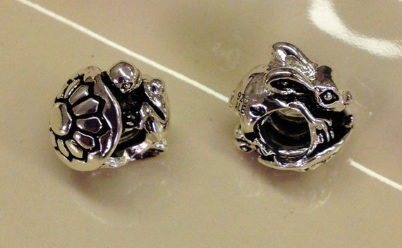 925 Sterling Silver Tortoise (turtle) and Hare (bunny rabbit) european type charm with the large hole. Free shipping.