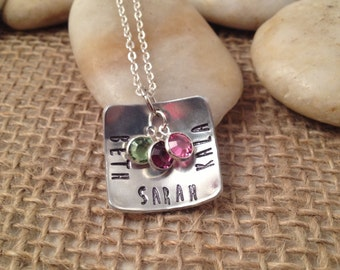 Square Domed Hand-Stamped Mom Necklace with Names and Swarovski Birthstones