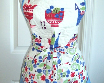 Easy Reversible Quilted Apron Pattern, Kitchen Apron, Cooking, Baking