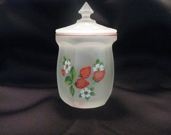 Westmoreland White Satin Frosted Glass Jar/ Vintage Marmalade-Jam-Jar/ 1960's/ Strawberry Red Daisy/ Cottage Chic/ Gift Ideas