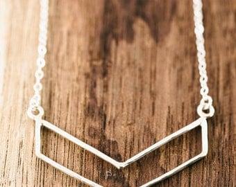 Kaimalie necklace - small silver chevron necklace, sterling silver chevron necklace, layered necklace, modern strand necklace, maui, hawaii