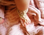 Crochet Baby Barefoot Sandals, Baby Foot accessories, Photo prop, Beach Pool Anklet, Gold Sandals, chose size sandals
