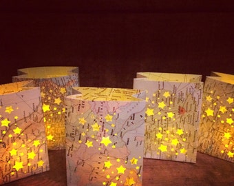 5 Mini Map Luminaries,Travel Decor, Map Luminaries, Welcome to the World, Baby Shower, Travel Theme, Favors, Place Cards, Globe Lights