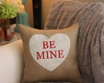 Burlap Pillow - Valentine's Pillow/Heart Pillow/Valentine Candy