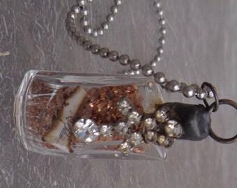 Soldered Mini Perfume Bottle Pendant Necklace BLISS