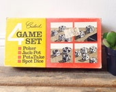 Crisloid Four Game Set Poker, Jack Pot, Put & Take, and Spot Dice Mad Men Style Table Game