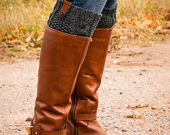 Knit charcoal Gray Boot Cuff with leather and button accent, Cable Knit sock, Boot Topper Knee high sock Crochet Leg warmer, Gift for her