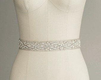 CATHERINE - Crystal Bridal Belt Sash - Rhinestone wedding gown sash - Wedding Dress Belt