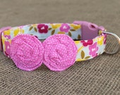 Dog Collar - Light Blue, Pink and Yellow Floral with Pink Pin Dot Flowers
