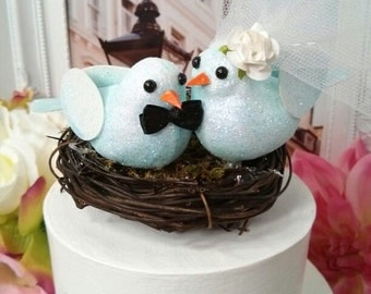 CLEARANCE SALE  pastel Blue bird in nest  wedding  cake topper or anniversary cake topper