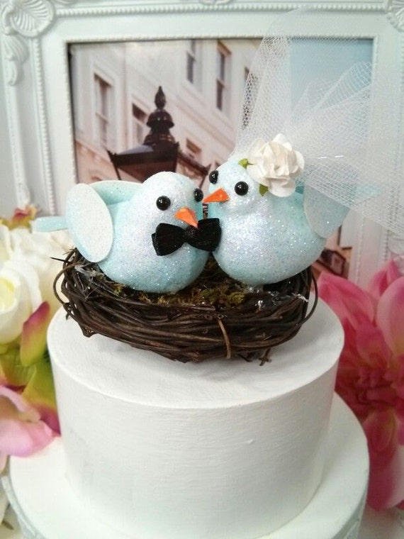 blue birds wedding cake topper clearance pastel blue bird in nest wedding cake topper 11977