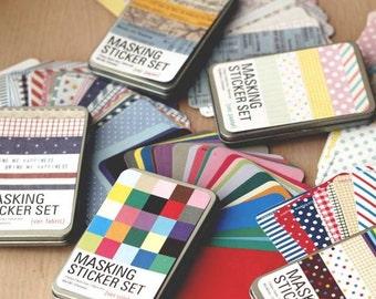 5 Sets Masking Stickers (tin box ver) - Deco Sticker - Diary Sticker - Paper Sticker - Filofax - NMS001