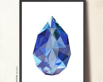 Sapphire poster, Gemstone Art Print A3. Imaginary Precious Stone, blue. Sapphire art print, polygon, Geometric Art, TANGRAMartworks
